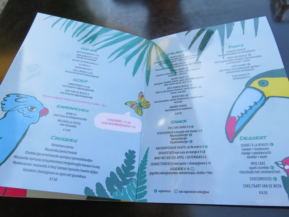 Funky Jungle, menu, vegan options indicated