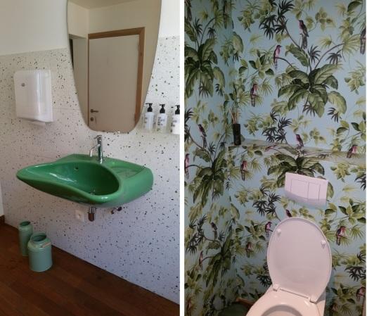 Toilet at Grün 1st floor (steep stairs), clean and tidy and colourful :-)
