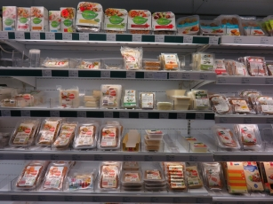 fridge with vegetarian (some vegan) products