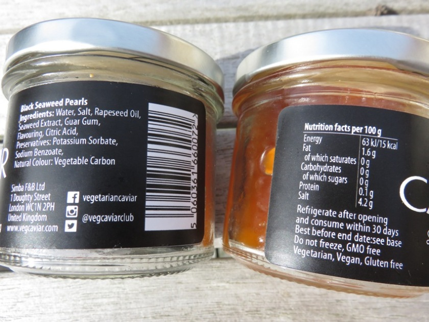 Ingredients and nutritional facts vegan caviar