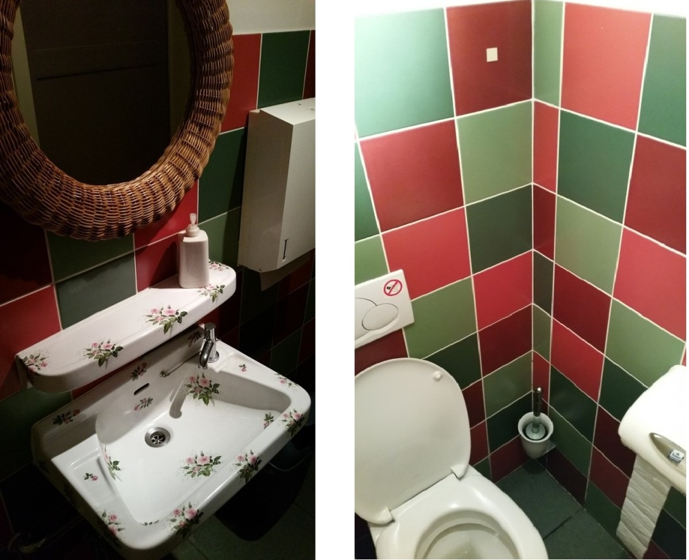 toilets at Amatsu, Ghent, clean and colourful. Nice flower print on bassin