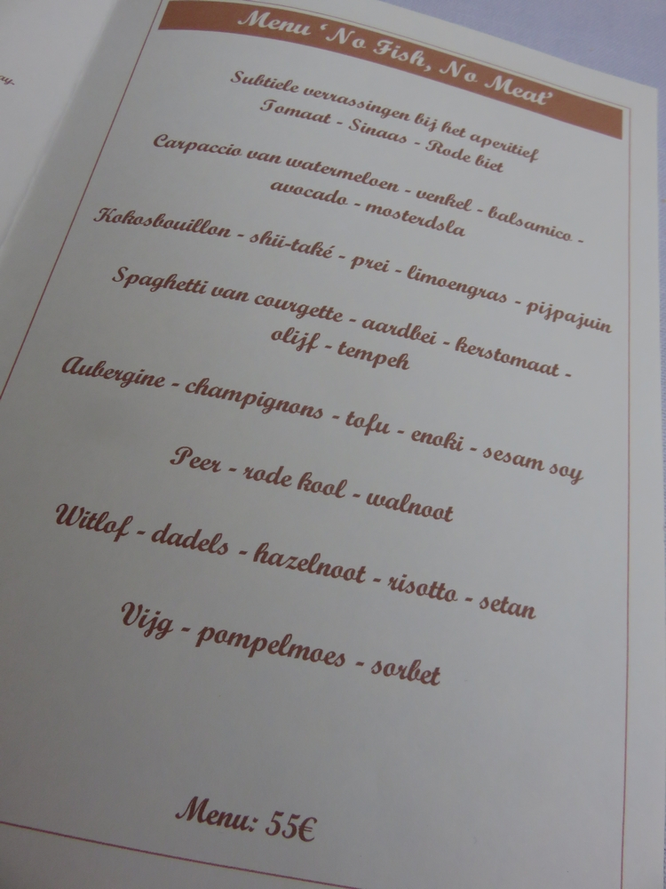 Menu, vegan evening Guillaume, Bruges