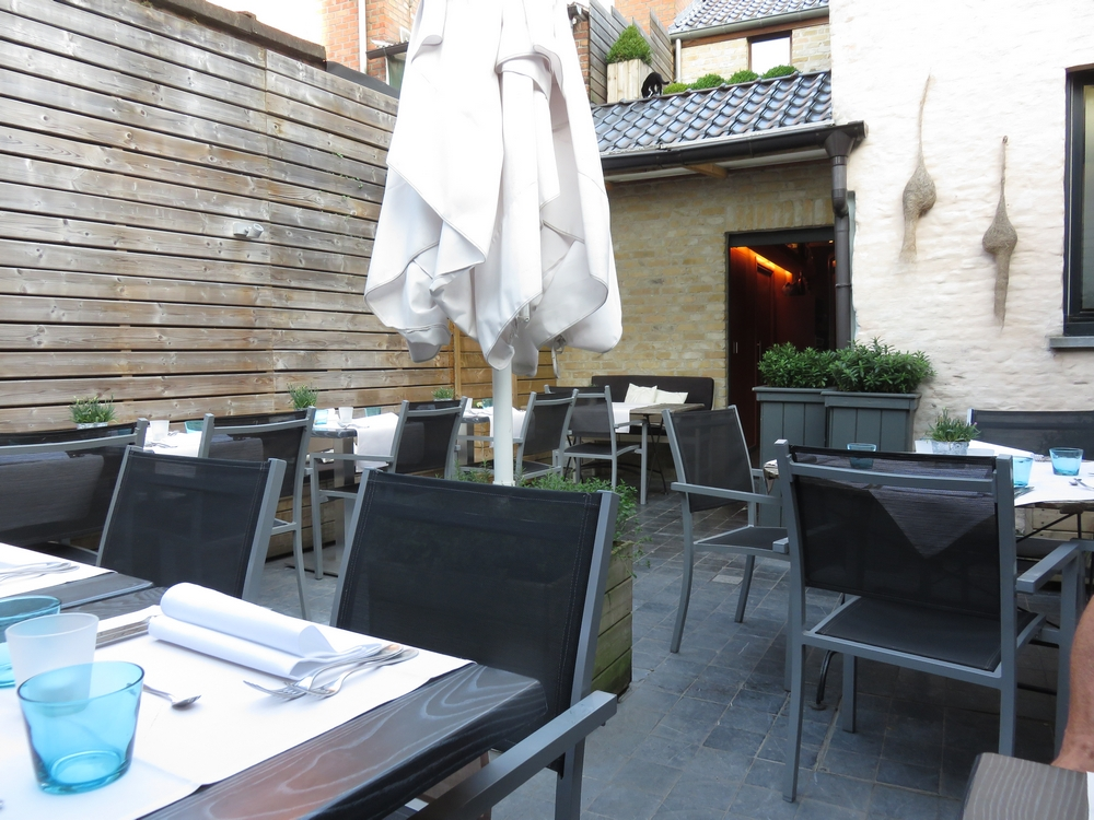 terrace at the back of restaurant Guillaume, Bruges
