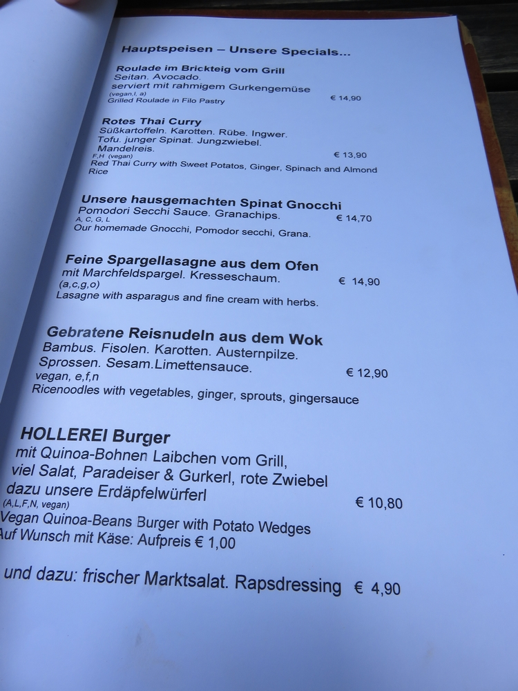 Hollerei Vienna, vegan options indicated
