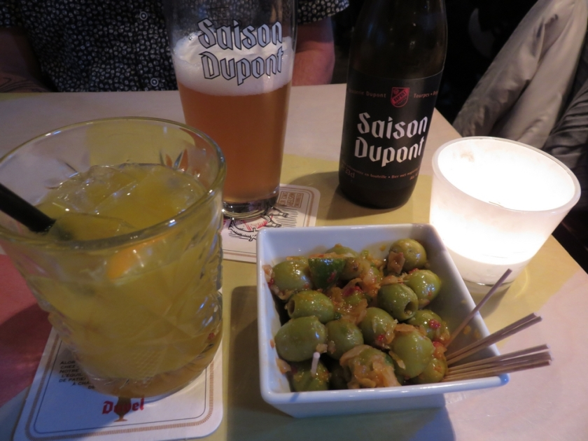 drinks and portion of olives