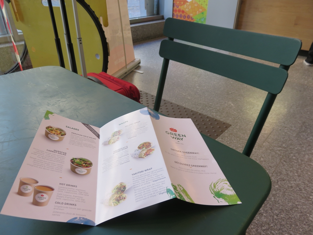 Menu and chairs at Greenway Brussels
