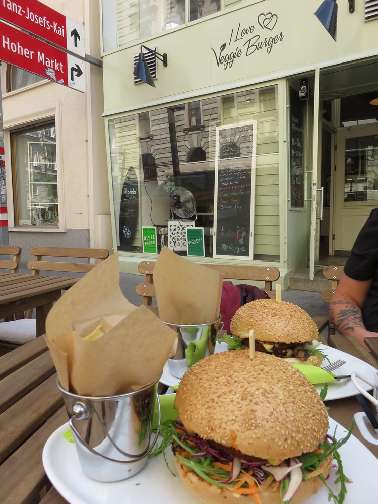 Veggie burger and burger, I love veggie burger, Vienna, Austria