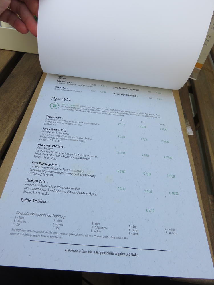 Vegan wines, Menu, I love veggie Burger, Vienna, Austria