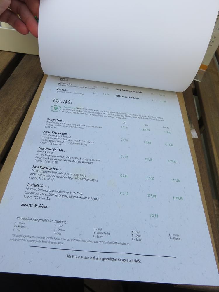 Vegan wines, Menu, I love veggie Burger, Vienna, Austria
