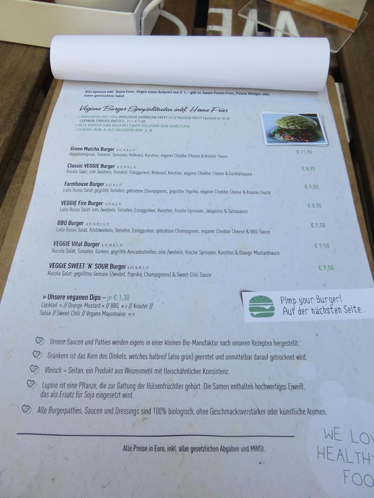Menu, I love veggie Burger, Vienna, Austria