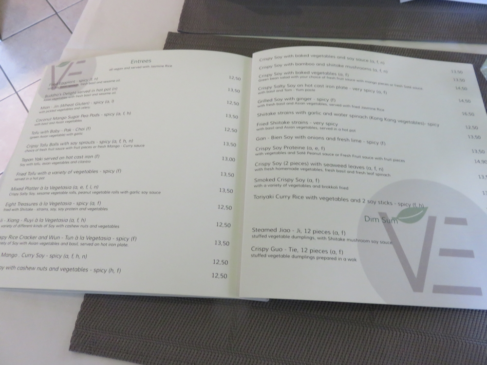 Menu at Vegetasia, Vienna