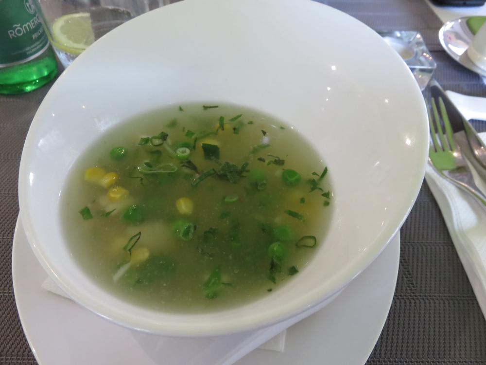 Corn creme soup with 'crab' pieces (4,50€)