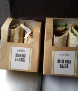 good thing we bought some wraps at St Pancras station before boarding. tehse were nice!