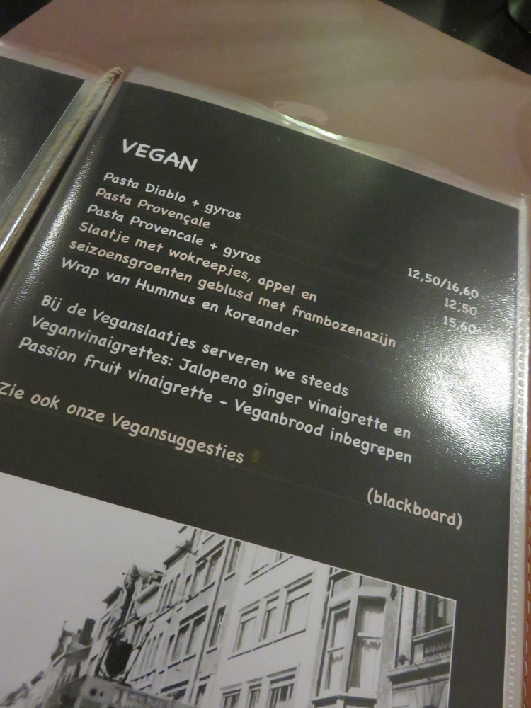 Bistro Piazza, vegan section on menu
