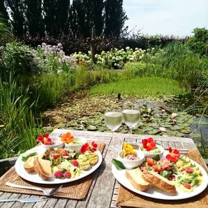 Summer, I love you 🌻🌻🌻 Having lunch with the frogs 😄 homemade guacamole and hummus and many fresh goodies straight from the #veggarden (and my first cherrie tomatoes, yeah! 🍎🍎)