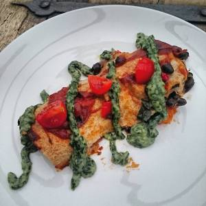 Sweet potato and black bean enchiladas with avocado cilantro cream sauce. Recipe from The Oh She Glows Cookbook, Angela Liddon 🌿🍁🌿🍁🌿🍁
