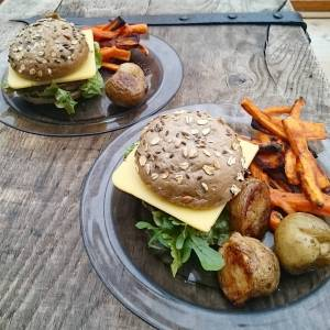 Cheeseburgers with sweet potato fries!