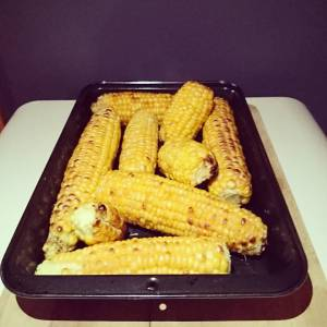 Grilled sweet corn 🌾🌾🌾 delicious 😄😄 #homegrown We ate some, and some went in the freezer. 🍀🌻🍀🌻🍀🌻🍀🌻🍀