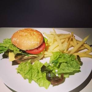 egan cheeseburger! With fries from our own grown potatoes, and salad from the garden! 🍟🍔🌿🍟🍔🌿🍟🍔🌿🍟🍔🌿