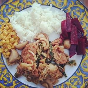 This was dinner! Beet, corn and chard are from the garden. Marinated soy chunks and mushrooms, with rice. 🌿🌻🌿🌻🌿🌻🌿🌻🌿