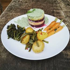 And this is the result! All vegetables and herbs from the garden! 😄😄 🍀🍀 see previous pics 🍀🍀 🌿 carrots papillot with cilantro 🌿 baked potatoes and chard and haricots 🌿 brocolli steamed and baked in tamari 🌿 tower of grilled zucchini and red beet 🌿 silk tofu herb sauce with hippy dust and veg bouillon
