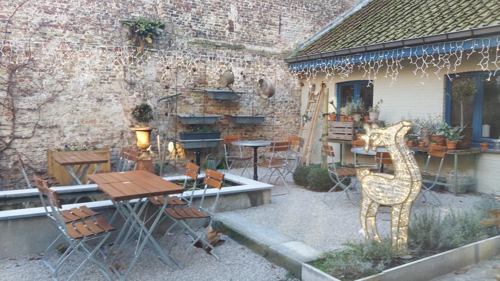 large terrace at the back, Le Pain Quotidien, Bruges
