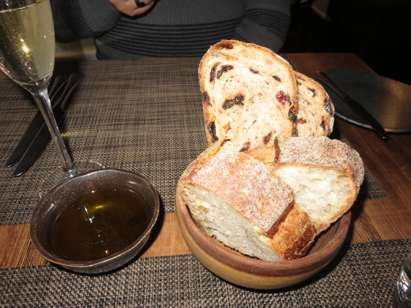Bread and oil. Bread came with the announcement that it is vegan.