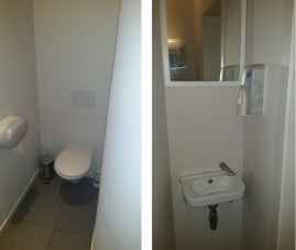 Toilets at Nomad, new, clean.