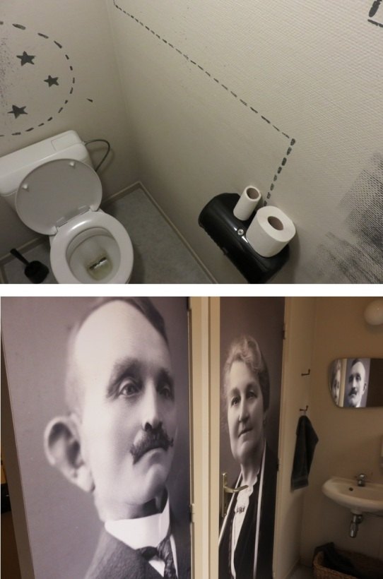 Toilets at De Plaats, Bruges. Clean, nice door posters! Steeps stairs on first floor though.
