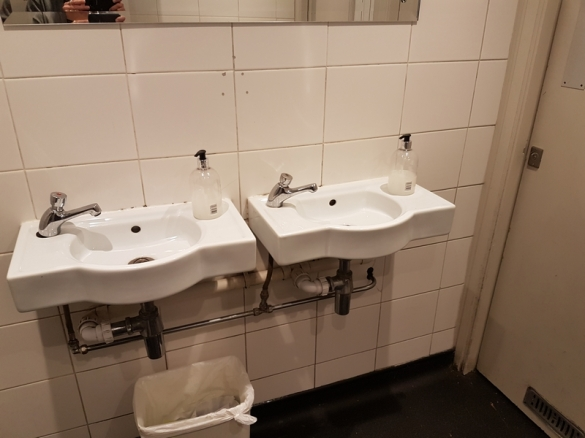 Toilets in the basement, Mildred's, London