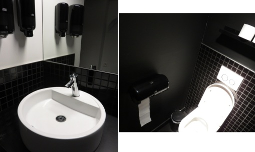 Toilets at Lasagnerie Löven, Louvain, clean and tidy, dark stairs to get there though.
