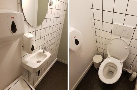 toilets at Loving Hut Veganerie, Louvain