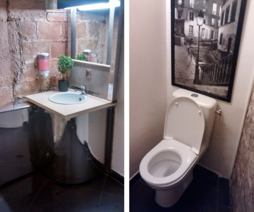 toilets downstairs, Gentle Gourmet, Paris