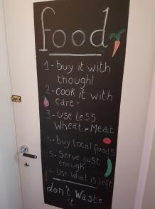 Food chalkboard in toilet, le Botaniste, Ghent