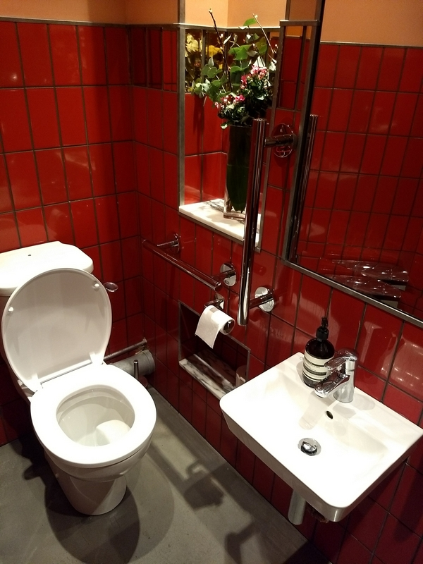 red tiles, white toilet, flowers in wall, white sink at wheelchair level with large mirror above it